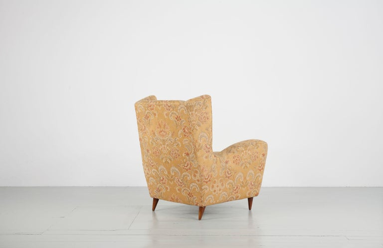 Textile Melchiorre Bega Set of Two Ornamental Armchairs, 1950s For Sale
