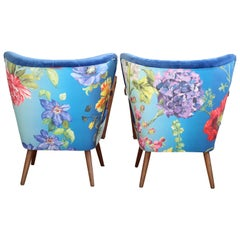 Set of Two Armchairs in Blue Velvet, Flower Pattern on the Back, Midcentury