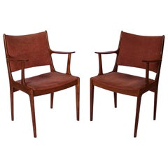 Set of Two Armchairs in Teak and Pale Pink Suede by Johannes Andersen, 1960s