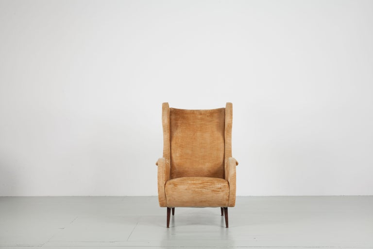 Set of two comfortable Italian Winkback armchairs from 1950s. Original condition.