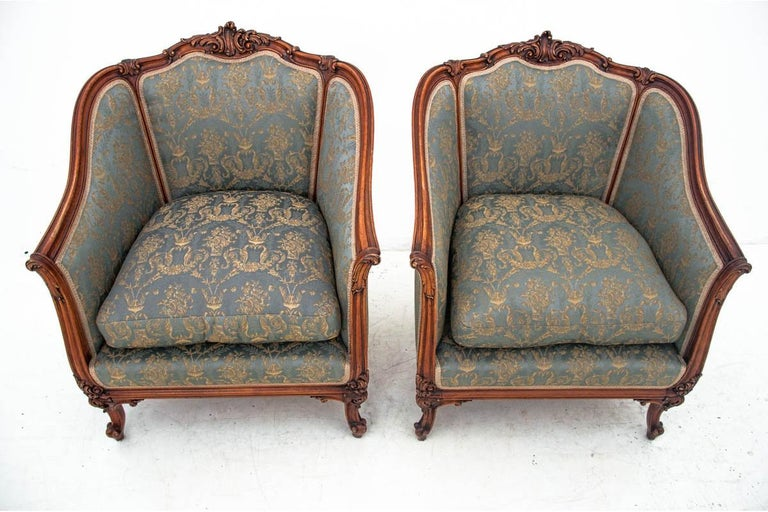 Louis Philippe Set of Two Armchairs and Table, France, circa 1920 For Sale