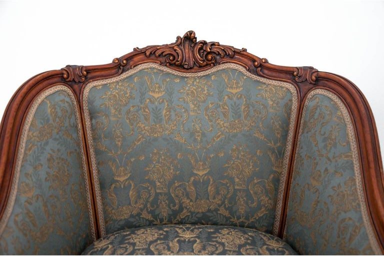French Set of Two Armchairs and Table, France, circa 1920 For Sale
