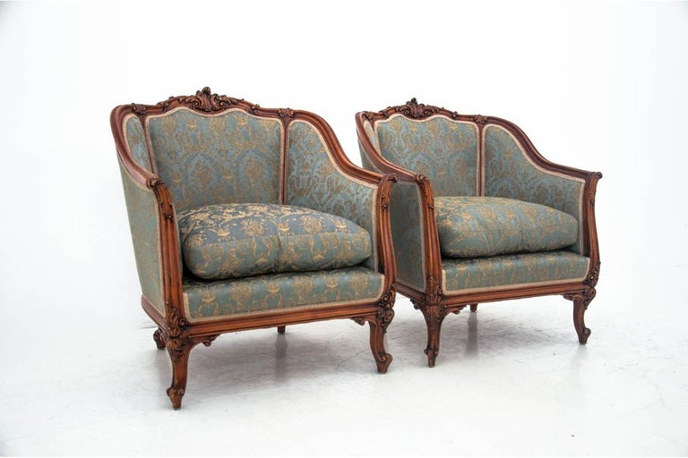 Set of Two Armchairs and Table, France, circa 1920 In Good Condition For Sale In Chorzów, PL