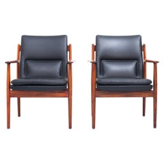 Set of Two Arne Vodder Armchairs in Wood and Leather, Denmark, 1960