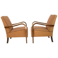 Set of Two Art Deco Armchairs by Halabala, 1930s