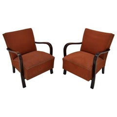 Set of  Two Art deco Armchairs by Halabala,1930's.