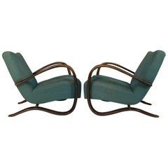 Set of Two Art Deco Armchairs H 269 by Jindrich Halabala, 1940s