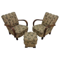 Set of Two Art Deco Armchairs with Footstool, 1935