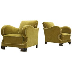 Set of Two Art Deco Club Chairs in Green Velour