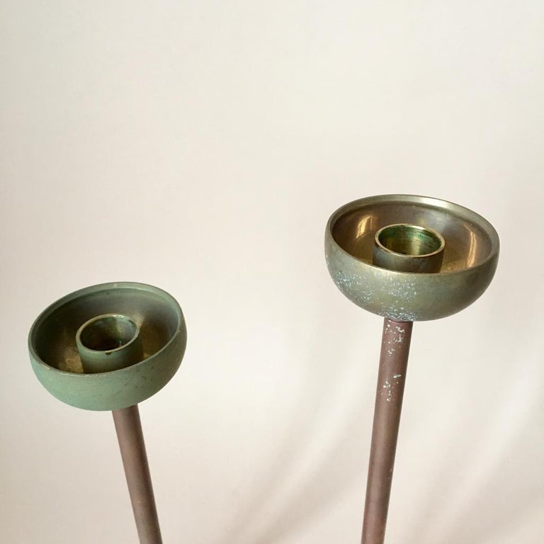 Mid-20th Century Set of Two Art Deco German Copper and Brass Candleholders, 1930s For Sale