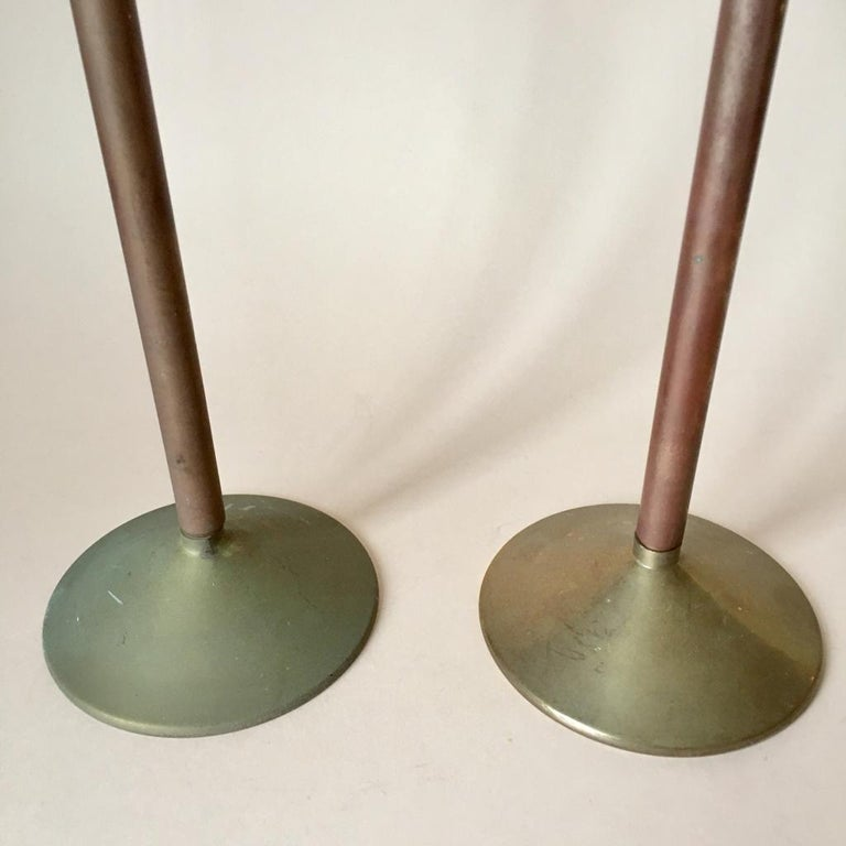 Set of Two Art Deco German Copper and Brass Candleholders, 1930s For Sale 1