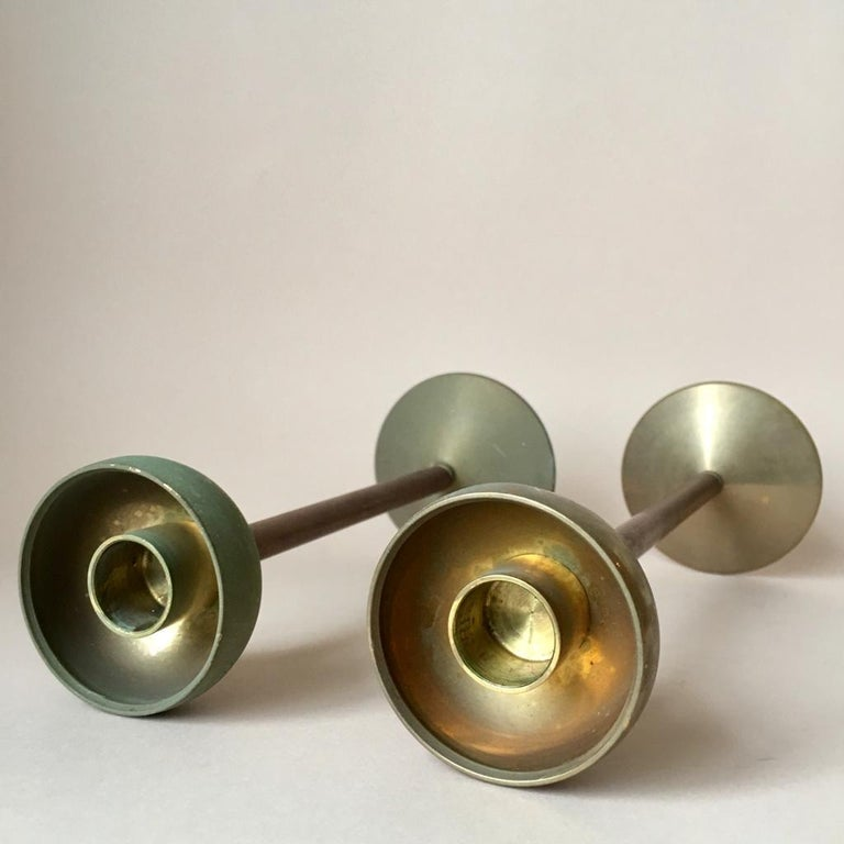 Set of Two Art Deco German Copper and Brass Candleholders, 1930s For Sale 2