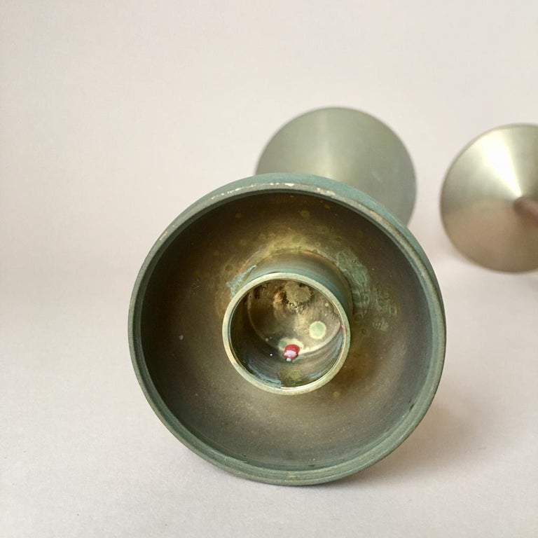 Set of Two Art Deco German Copper and Brass Candleholders, 1930s For Sale 3