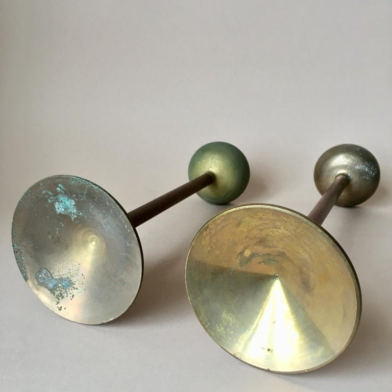 Set of Two Art Deco German Copper and Brass Candleholders, 1930s For Sale 5