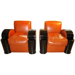 Set of two Art Deco Style Armchairs and One Stool, France 1970s
