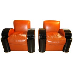 Set of Two Art Deco Style Club Chairs with one Stool, France, 1970s