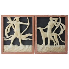 Set of Two Art Deco Wall Plaques