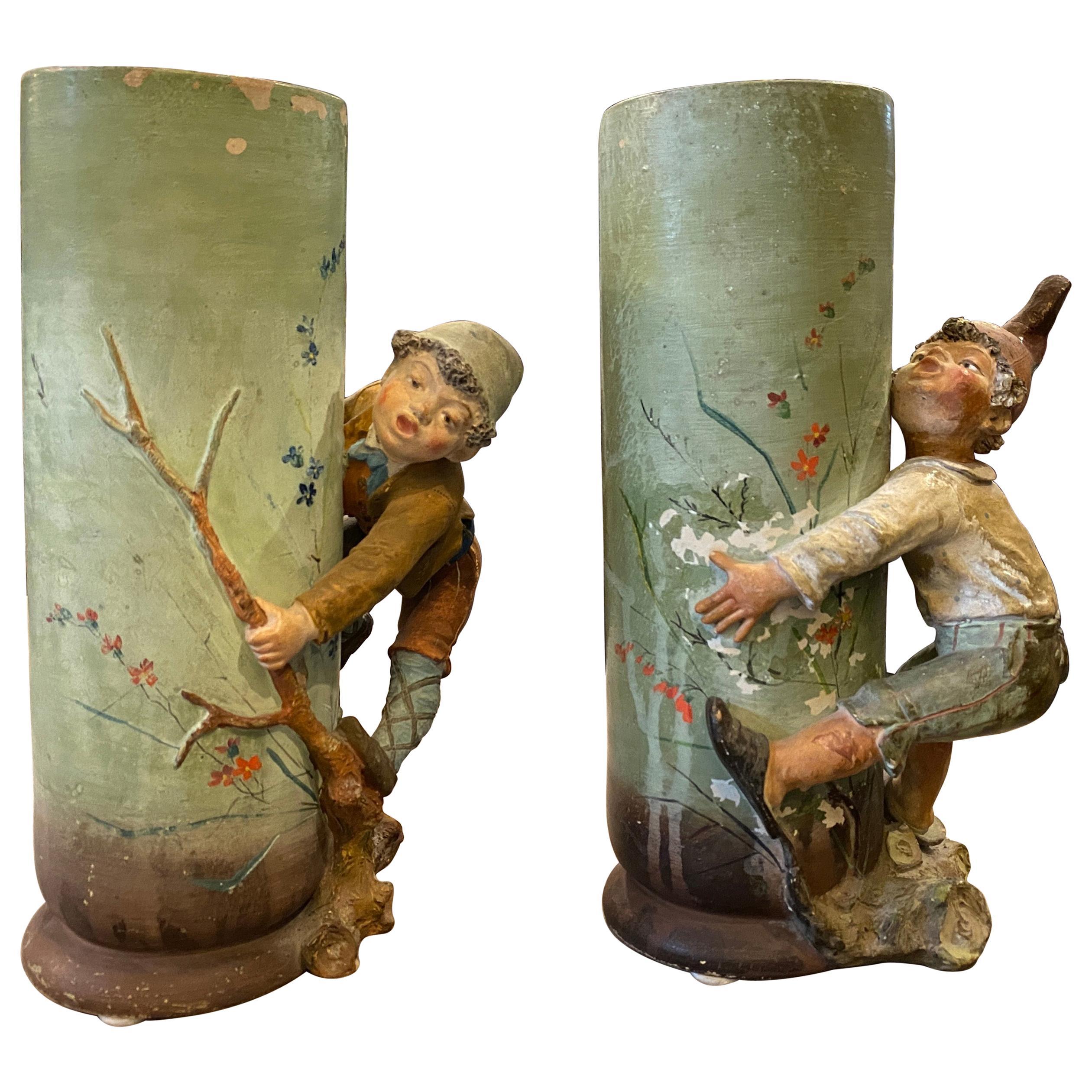 Set of Two Art Nouveau Ceramic Neapolitan Vases, 1900s