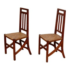 Set of Two Arts & Crafts Chairs in Wood And Rattan, circa 1910