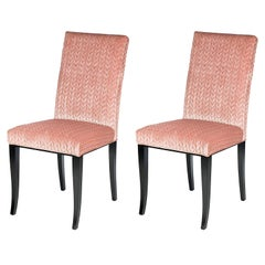 Set of Two Audrey Wood and Fabric Chairs
