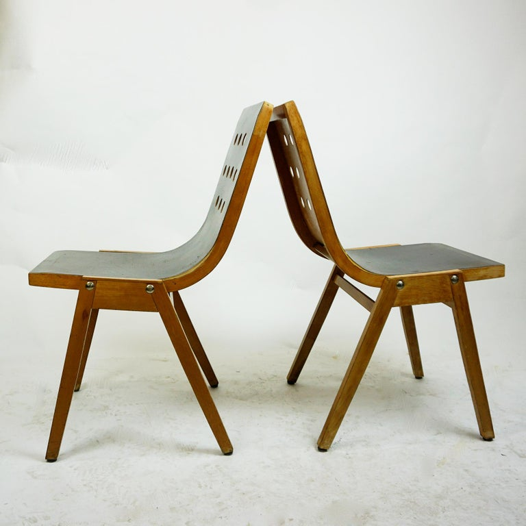 Mid-Century Modern Set of Two Austrian Midcentury Beech Stacking Chairs by Roland Rainer For Sale