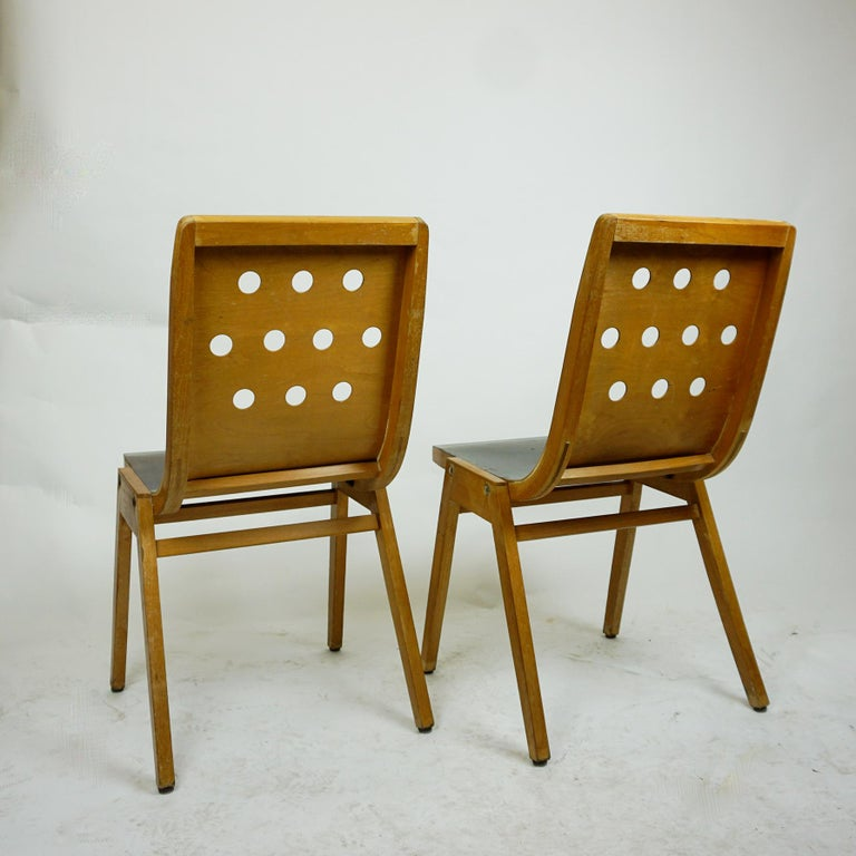20th Century Set of Two Austrian Midcentury Beech Stacking Chairs by Roland Rainer For Sale