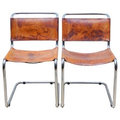 Set of Two B33 Chairs in Steel and Leather by Marcel Breuer