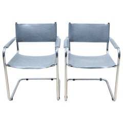 Set of Two B34 Chairs in Steel and Leather by Marcel Breuer