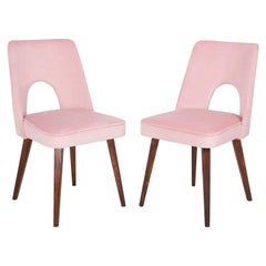 Set of Two Baby Pink Velvet 'Shell' Chairs, 1960s