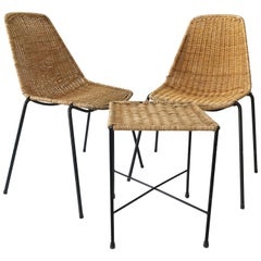 Set of Two Basket Chairs and Stool by Gian Franco Legler, 1951, Switzerland