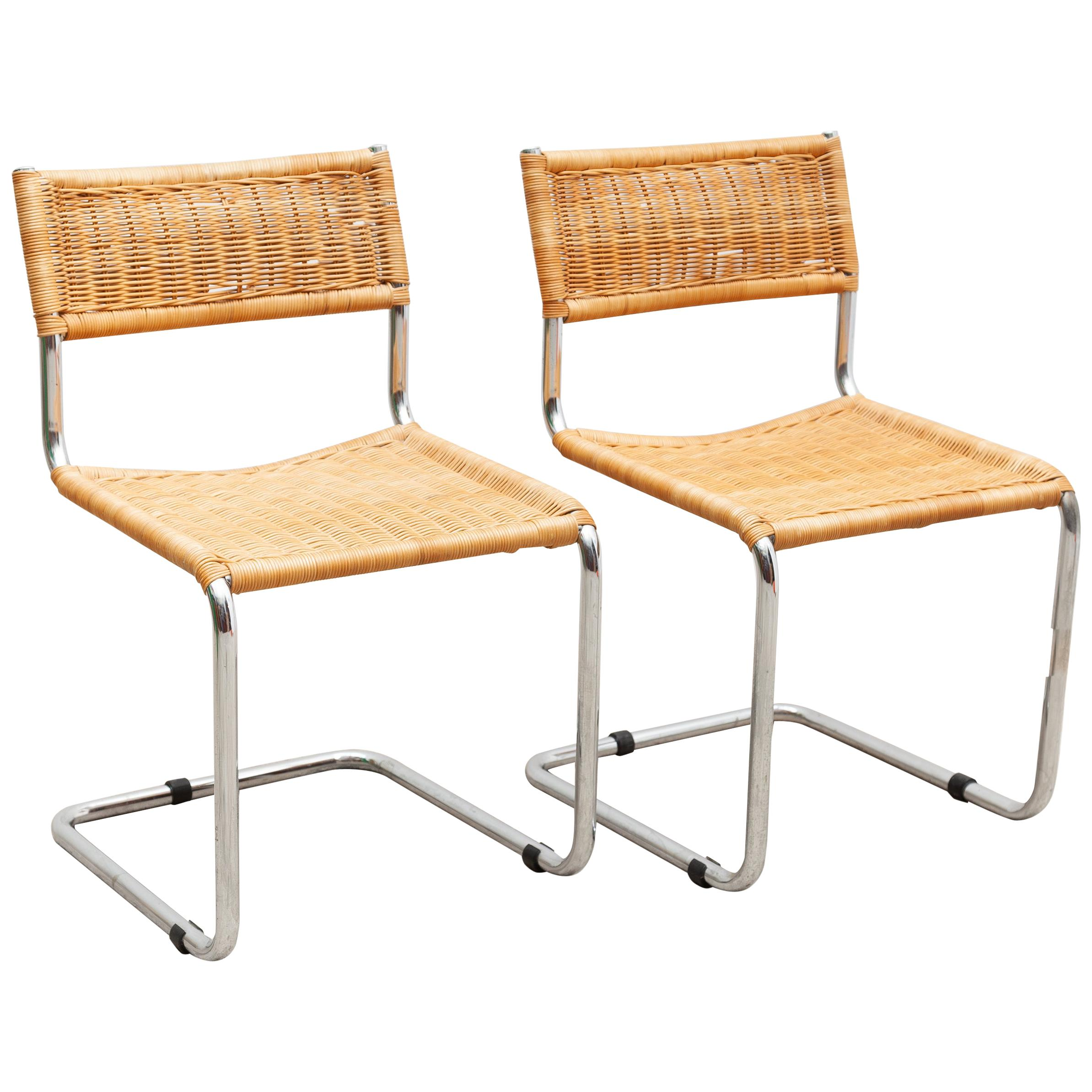 Set of Two Bauhaus Cantilever Chrome Woven Rattan Side Chairs 1960s Italy