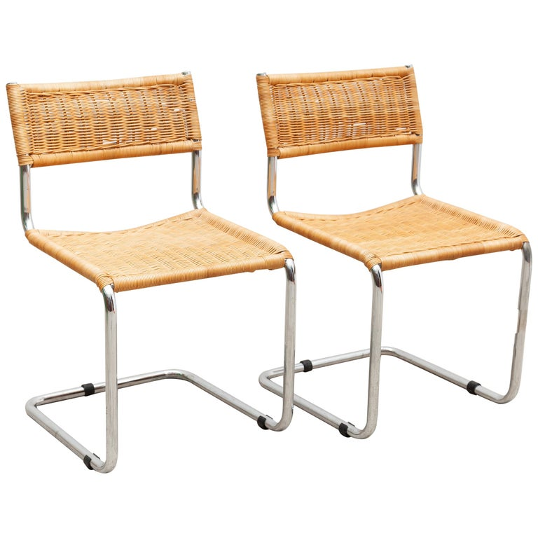 Set of Two Bauhaus Cantilever Chrome Woven Rattan Side Chairs 1960s Italy For Sale