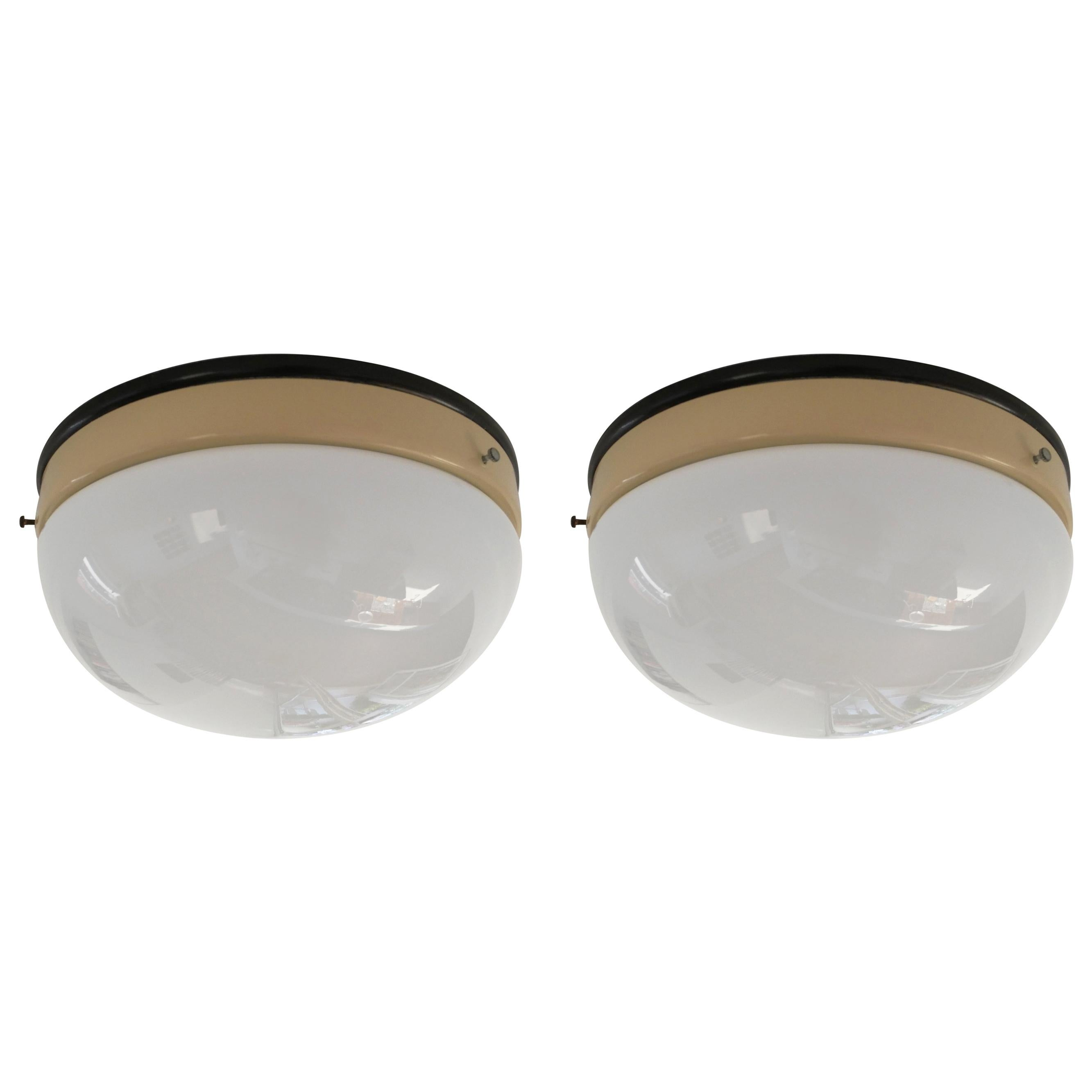 Set of Two Bauhaus Ceiling Lamps / Lights, 1940s