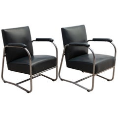 Set of Two Bauhaus Chrome Tubular Steel Easy Armchairs, 1930s by Gispen, 1935