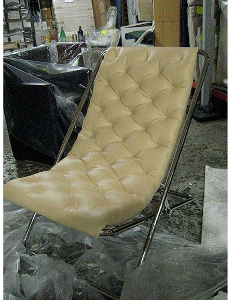 #11520 Lester Recliner (2) available Diamond Stitched Premium Leather: beige Frame: polished chrome 26.3