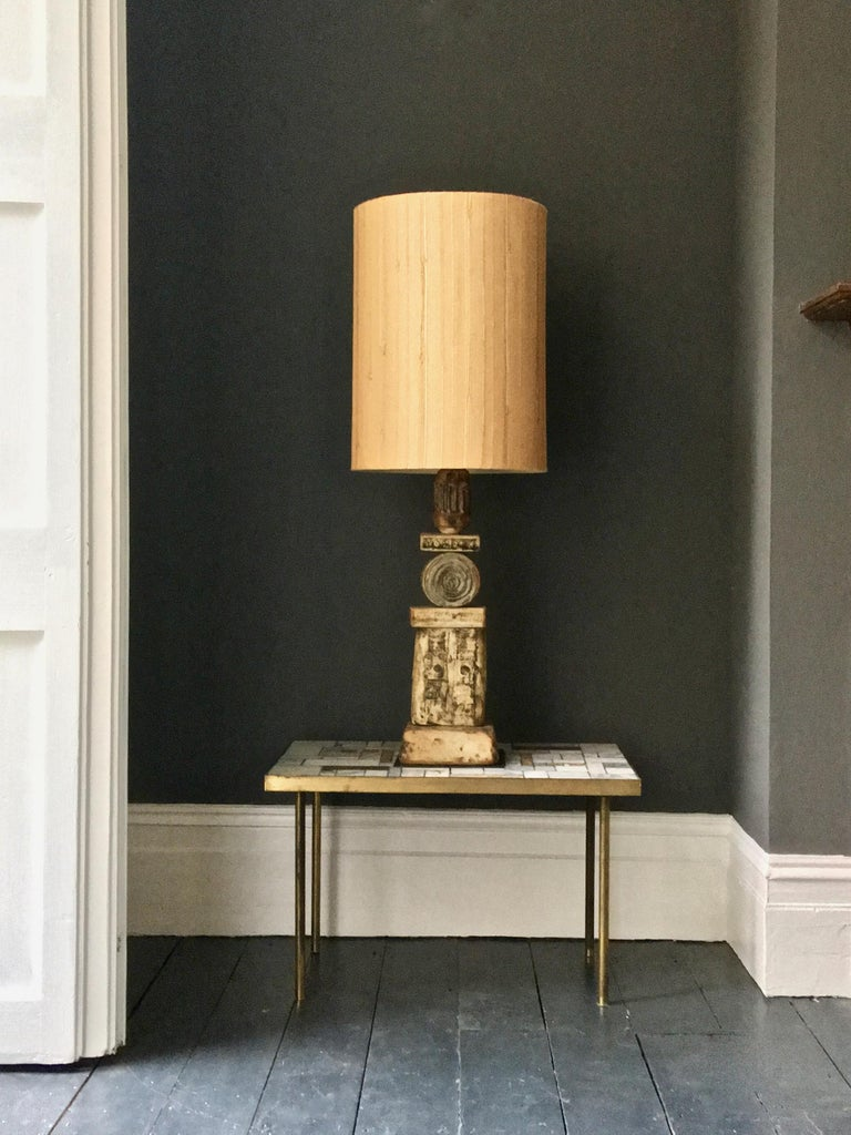 A set of two large, or oversize, ceramic TOTEM table lamps by Bernard Rooke, England, 1960s.