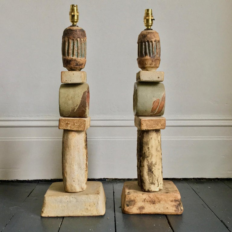 Mid-20th Century Set of Two Bernard Rooke Studio Ceramic TOTEM Lamps, England, 1960s For Sale