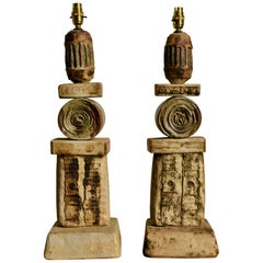 Set of Two Bernard Rooke Studio Ceramic TOTEM Lamps, England, 1960s