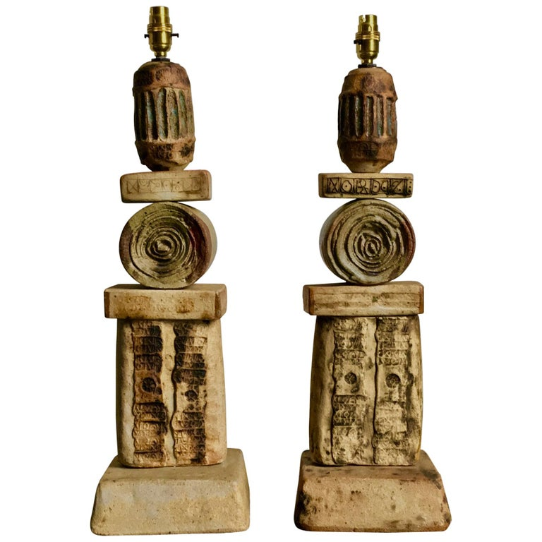 Set of Two Bernard Rooke Studio Ceramic TOTEM Lamps, England, 1960s For Sale