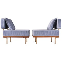 Set of Two Bespoke Lounge Chair, Reclaimed Hardwood and Brass by P. Tendercool