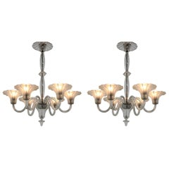 Set of Two Big Prestige Beautiful Art Deco Glass Chandeliers, 1920s
