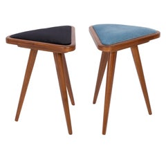 Set of Two Black and Blue Velvet 20th Century Stools, 1960s