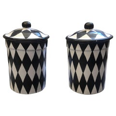 Set of Two Black and White Hand Painted Terracotta Sicilian Saltcellars