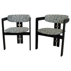 """Set of Two Black """"Pamplona"""" Chairs by Augusto Savini for Pozzi, Italy, 1965"""