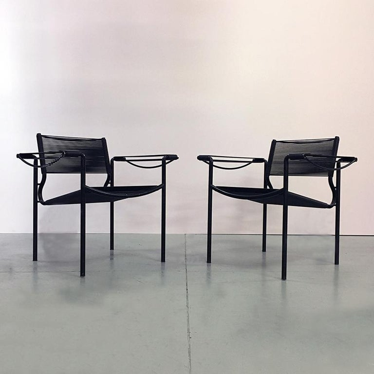 Set of two black Scooby armchair by Giandomenico Belotti for Alias dating to the seventies. Italian production in black metal rod, while seat and back are covered in black Scooby. Mark present on the back.  Good general condition, only a few flaw