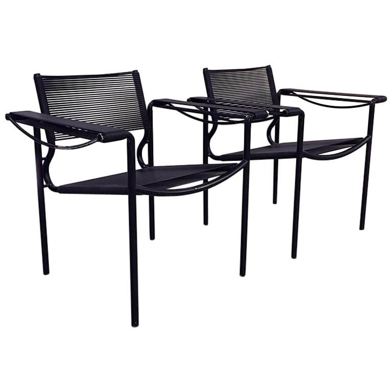 Set of Two Black Scooby Armchair by Giandomenico Belotti for Alias, 1970s For Sale
