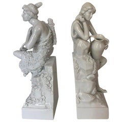 Set of Two Blanc de Chine Allegorical Figures