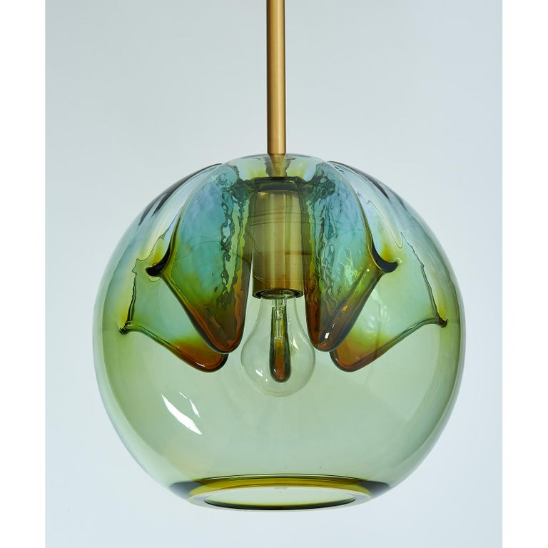 Mid-Century Modern Set of Two Blown Colored Glass Pendant Lanterns, Italy, 1970s For Sale