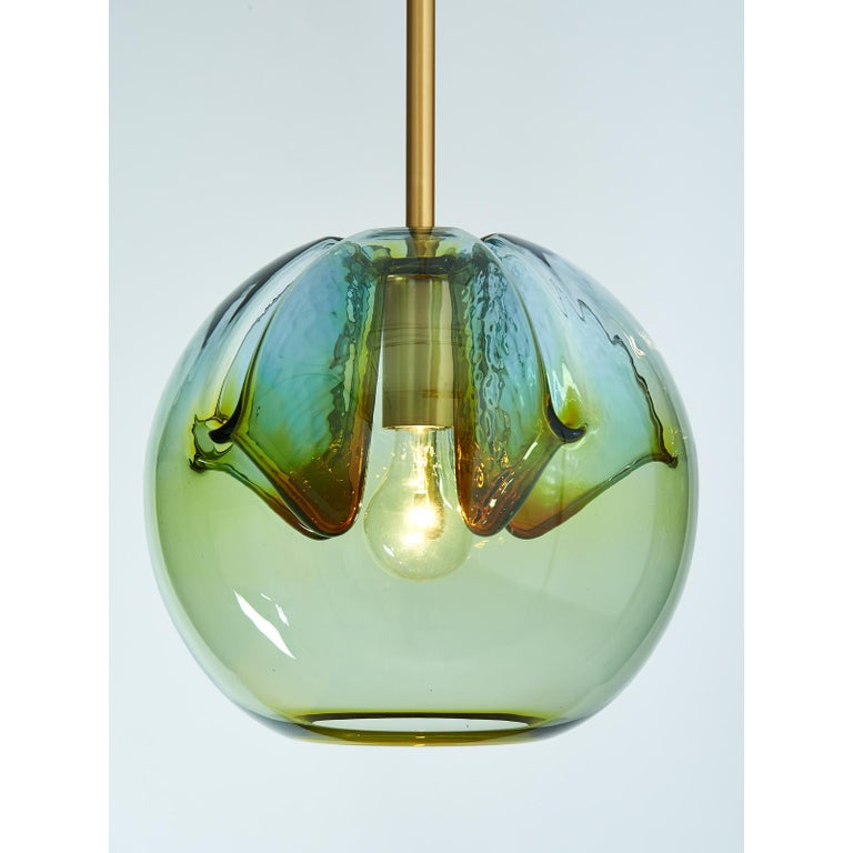 Italian Set of Two Blown Colored Glass Pendant Lanterns, Italy, 1970s For Sale