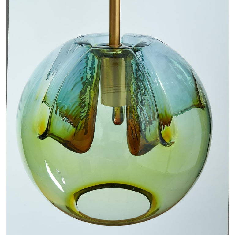 Set of Two Blown Colored Glass Pendant Lanterns, Italy, 1970s In Good Condition For Sale In New York, NY